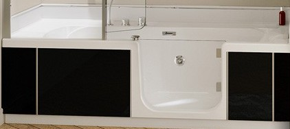en vente sur direct tablier facade lateral verre noir pour kinedo duo angle. Black Bedroom Furniture Sets. Home Design Ideas